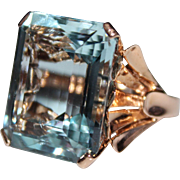 RETRO 1940's 14k Rose Gold Aquamarine Cocktail Ring, Seashell Setting, 33+ Carat