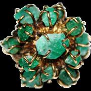 OOAK Vintage Estate 18k Gold Rough Cut Emerald Cluster Cocktail Ring 10+ CTW, Size 7 1/2