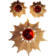 Vintage TRIFARI Gold Plate Brown Conical Glass Starburst Brooch, Earrings Set