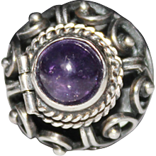 Vintage Sterling Silver Taxco Mexico Amethyst Cabochon Domed Poison Ring, Sz 6.5