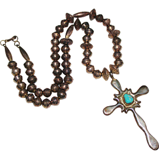 Vintage Navajo Indian Sterling & Turquoise Cross Necklace, Bench Beads, Sand Cast