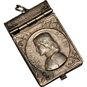 Antique French Art Nouveau Silver Plate JOAN OF ARC Locket, Story of Life Book