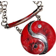 Funky & Bold Vintage CELEBRITY Silver Red & Black Swirl Lucite Yin Yang Necklace