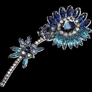 Huge Vintage Delizza & Elster Juliana Shades of Blue Flower Brooch, D&E