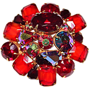 Vintage KRAMER Red & Orange AB Rhinestone, Givre Glass Brooch