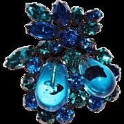 Vintage REGENCY Jewels Blue & Green Rhinestone Art Glass Bead Brooch, Japanned