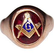 Retro 1940's 10k Gold Freemason Mason Synthetic Red Stone Ruby Ring, 14.8 Grams