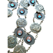 FABULOUS Art Deco Brass Italian Coin & SAPHIRET Link Belt, 12 Saphirets, Faceted