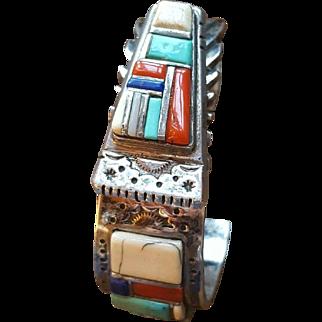 Amazing Navajo DAVID TUNE Sterling Multi Stone Raised Inlay Cuff Bracelet, Coral, Turquoise, Jet