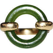 Vintage Modernist 14k Yellow Gold Jade Circle, Textured Band Ring, Size 7