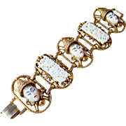 Vintage SELRO Selini Asian Princess, Floral Panels White Lucite Bracelet, Chunky