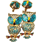Vintage CORO Aqua Blue Owl Duette Brooch Fur Clips & Earrings, Adolph Katz 1944