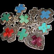 Early JOAN SLIFKA Sterling Silver Multi Stone Hearts & Cross Charm Bracelet BOLD