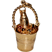 Vintage 14k Yellow Gold Multi Color Stone CHAMPAGNE Bucket Charm Pendant, 6.3 G