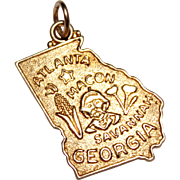14k Yellow Gold State Charm, GEORGIA, Savannah, Atlanta, 2.3 Grams