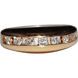 Estate 14k Yellow Gold .49 CTW Diamond Channel Band Ring, Size 6, 4.6 Grams