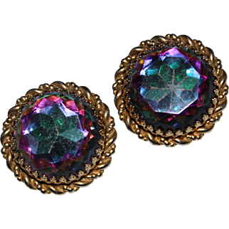 Vintage SCHIAPARELLI Watermelon Rhinestone Clip Earrings, LARGE, 1 3/8""