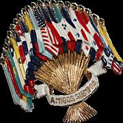Vintage CORO Enamel Flags of the Americas AMIGOS SIEMPRE Brooch L. GABA for Coro