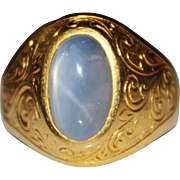 Vintage 23K Yellow Gold Pale Blue Grey Star Sapphire Cabochon, Chased Design Ring, Size 8 1/2