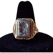 Ostby Barton Sterling Silver 10K Gold Hematite Intaglio Roman Soldier Mens Ring, Size 11