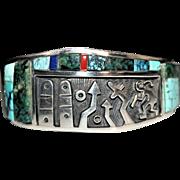 Hopi Indian Phillip Sekaquaptewa Weseoma Multi Stone Scenic Story Cuff Bracelet
