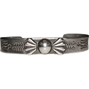 Fred Harvey Era SILVER PRODUCTS Coin Silver Thunderbird Stamped Cuff Bracelet