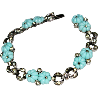 Art Deco KTF Trifari Molded Flower Aqua Glass Fruit Salad Paste Stone Bracelet