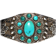 Fred Harvey Era Turquoise Cluster Thunderbird Cuff Bracelet, Sterling, Intricate Designs