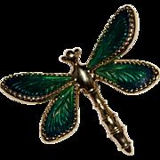 Estate 14k Yellow Gold Green Enamel Dragonfly Brooch Pin, 5.1 Grams