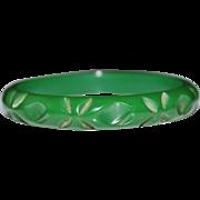 Vintage Heavily Carved Green Bakelite Bangle Bracelet