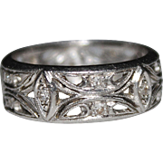 Art Deco Filigree Platinum Diamond Wedding Band Ring, Milgrain Edges, Open Work
