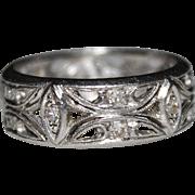 Art Deco Filigree Platinum Diamond Wedding Band Ring, Milgrain Edges, Open Work
