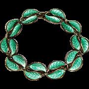 Vintage David Andersen Sterling Norway, Green Enamel Leaf Bracelet, Willy Winnaess