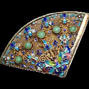Vintage Chinese Export Sterling Silver Enamel Jade Fan Brooch, Butterfly