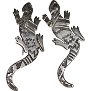 BOLD Vintage Navajo Indian Sterling SIGNED Lizard Gecko Earrings, Silver Overlay