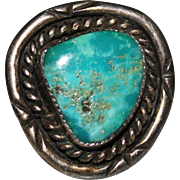 Beautiful Vintage Navajo Indian Sterling & Rich Teal Turquoise Ring, Size 6