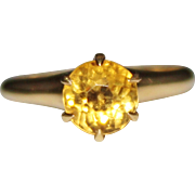 Antique Edwardian 10k Gold Citrine Ring, Tiffany Claw Setting, High Mounting