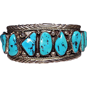 Beautiful Vintage Navajo Indian 1970's Sterling Turquoise Nugget Cuff Bracelet