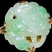 Art Deco Carved Apple Green Jadeite Jade Flower Ring, 14k Yellow Gold, Size 6