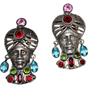 Pair of Vintage 1940's Sterling Sultan Jeweled Turban Blackamoor Faces Fur Clips