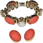 Vintage Molded Coral Lucite Scarab Mother of Pearl Bracelet & Earrings Set