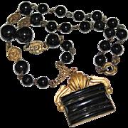 "Art Deco  Black Czech Glass Bead & Brass Floral Necklace, 17"", Lovely Detail"