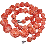 Art Deco Molded Coral Glass Flower Bead Necklace, Graduated, Great Barrel Clasp!