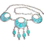1950's Frank Vacit Zuni Indian Sterling Turquoise Flush Channel Inlay Necklace