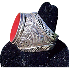 Vintage 900 Sterling Carnelian Asian Ethnic Tribal Ring, Bold Statement Piece