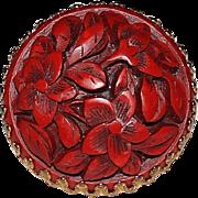 Vintage MIRIAM HASKELL Gilt Filigree CINNABAR ASIAN Theme Statement Ring, Size 8