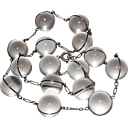"""Art Deco Rock Crystal & Sterling POOLS OF LIGHT Necklace, 17"""", 14MM - 15 Orbs"""