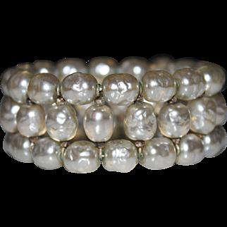 Gorgeous Vintage MIRIAM HASKELL White Baroque Pearl Memory Wrap Bracelet