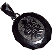 Victorian Antique Whitby Jet Mourning Locket, Faceted, Monogram, Photo Pendant