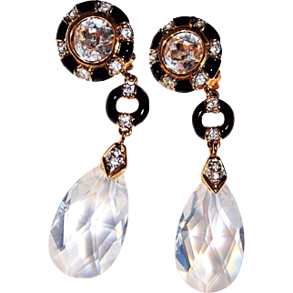 GORGEOUS Vintage Signed SWAROVSKI Crystal Black Enamel Dangle Drop Earrings SWAN